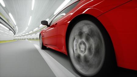 rode sport auto in een tunnel. snel rijden. olie concept. 3D-rendering