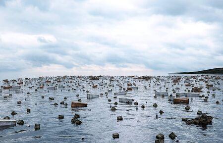 armageddon: Apocalypse sea view. Destroyed bridge. Armageddon concept. 3d rendering. Stock Photo