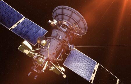 Satelliten im Raum. Ansicht der Erde. Sonnenaufgang. 3D-Rendering.