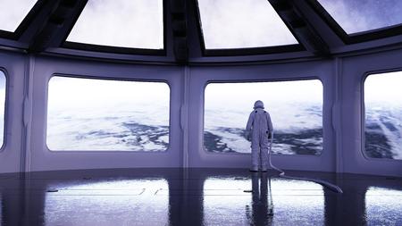colony: alone astronaut in futuristic interior. Sci fi room view of the earth. 3d rendering.