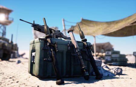 Military base, headquarters in east desert. Terrorism concept. 3d rendering.