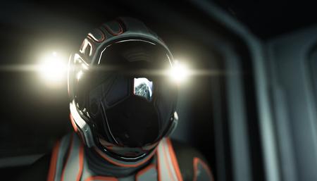 Allein Astronaut im Raum. Sci Fi futuristischen Flur. Ansicht der Erde. 3D-Rendering.