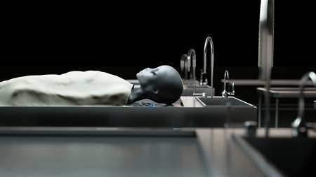 paranormal: The dead alien in the morgue on the table. Futuristic autopsy concept. 3d rendering.