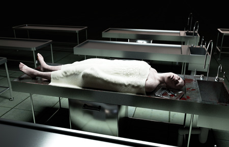 lifeless: cadaver, dead male body in morgue on steel table. Corpse. Autopsy concept. 3d rendering.