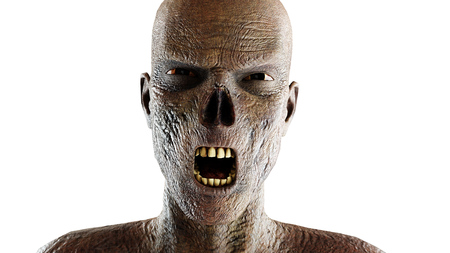 died: Zombie screaming. Close up. Isolate on white. 3d rendering.