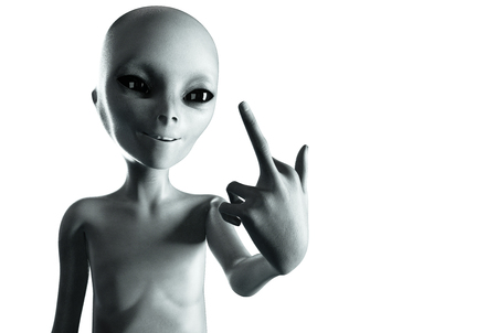 Alien show middle finger, fuck you. Smile. isolate.3d rendering.