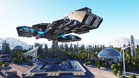 Ruimteschip in een futuristische stad, stad. Het concept van de toekomst. Luchtfoto. 3D-rendering. Stockfoto