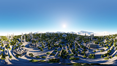 hdri: 360 degrees. futuristic city, town. Architecture of the future. Aerial view. 3d rendering. spherical panorama