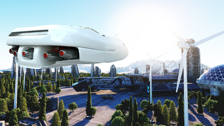 futuristic car flying over the city, town. Transport of the future. Aerial view. 3d rendering. Archivio Fotografico