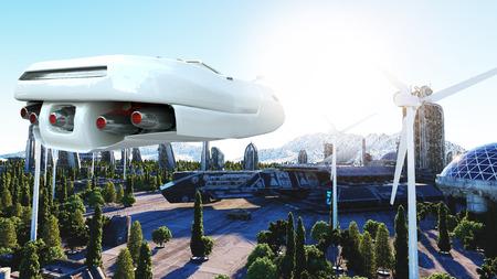 Futuristische auto die over de stad, de stad vliegt. Vervoer van de toekomst. Luchtfoto. 3D rendering.