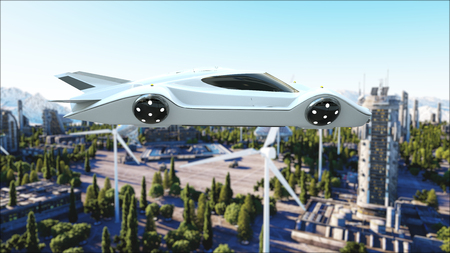 futuristic car flying over the city, town. Transport of the future. Aerial view. 3d rendering. Foto de archivo