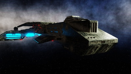Futuristic space ship in . Earth planet wonderfull view. realistic metal surface . 3d rendering. Imagens