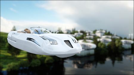 Futuristische auto die over de stad vliegt, landschap. Vervoer van de toekomst. Luchtfoto. 3D-rendering. Stockfoto
