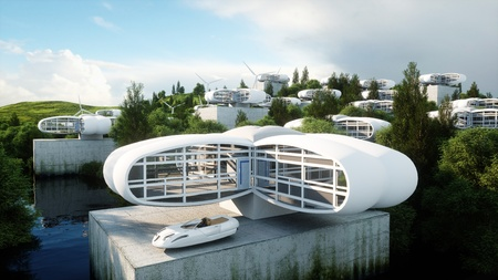 未来都市、村。未来の概念。空撮。3 d レンダリング。