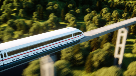 futuristic, modern train passing on mono rail. Ecological future concept. Aerial nature view. 3d rendering.