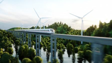high speed train: futuristic, modern train passing on mono rail. Ecological future concept. Aerial nature view. 3d rendering.