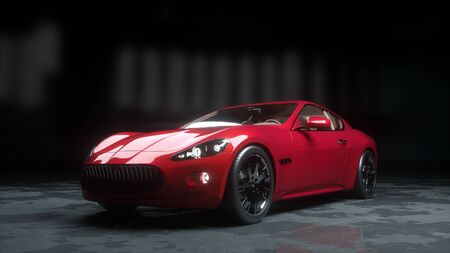 luxury red sport car . realistic 3d rendering.