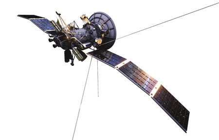 space station: Satellite in space. Isolate on white. 3d rendering.