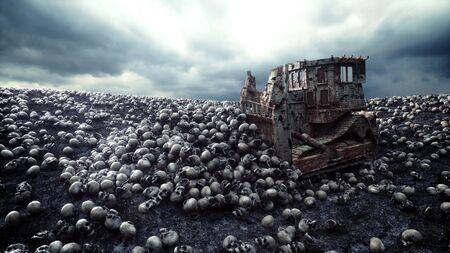 Oude bulldozer en stapel schedels. Apocalyps en helconcept. 3D-rendering. Stockfoto