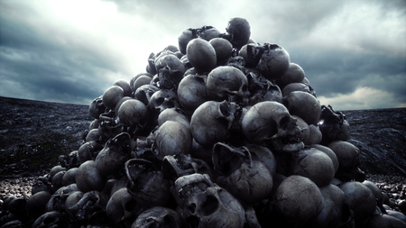 heap of skulls. Apocalypse and hell concept. 3d rendering.