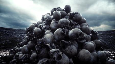 kupa czaszek. Koncepcja apokalipsy i piekła. 3d rendering.