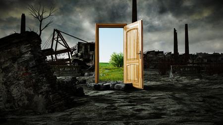 ドアを開ける。自然と生態学的大惨事、黙示録の間のポータルです。3 d レンダリング。 写真素材