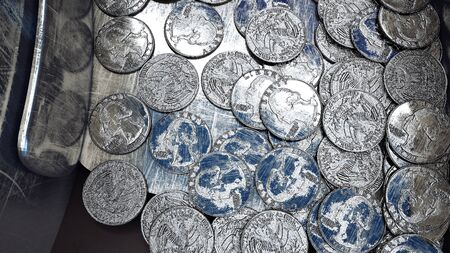 dime: Process of production of coins, 25 cents. Industrial concept. Factory equipment and macine. 3d rendering.