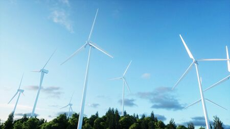 wind turbine. monderfull landscape. Ecological concept. 3d rendering. Stock Photo