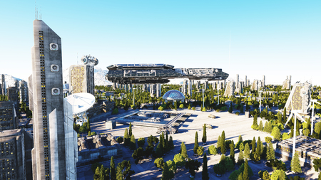 futuristic city: spaceship in a futuristic city, town. The concept of the future. Aerial view. 3d rendering.
