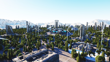 futuristic city, town. Architecture of the future. Aerial view. 3d rendering. Stock Photo