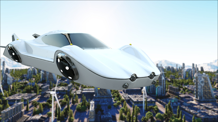 futuristic car flying over the city, town. Transport of the future. Aerial view. 3d rendering. Stock Photo