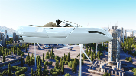 futuristic car flying over the city, town. Transport of the future. Aerial view. 3d rendering. Stok Fotoğraf