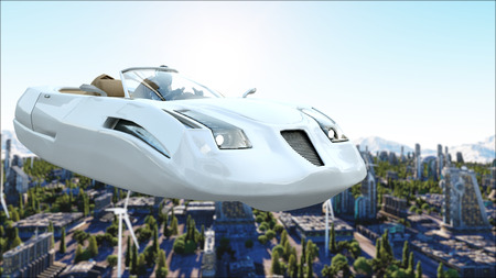 futuristic city: futuristic car flying over the city, town. Transport of the future. Aerial view. 3d rendering. Stock Photo