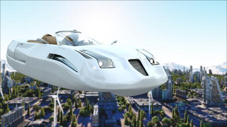 futuristische auto die over de stad, stad vliegt. Transport van de toekomst. Luchtfoto. 3D-rendering.