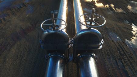 stop gate valve: oil, gas valve. Pipeline in desert. Oil concept. 3d rendering.