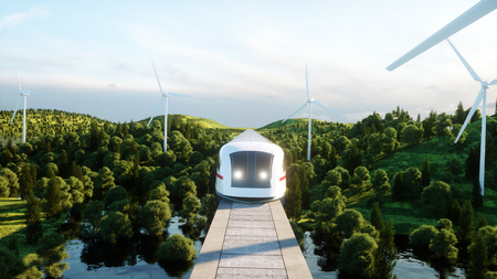 futuristic, modern Maglev train passing on mono rail. Ecological future concept. Aerial nature view. 3d rendering. Фото со стока