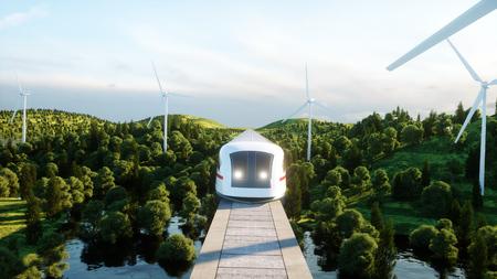 futuristische, moderne Maglev-trein die op monorail overgaat. Ecologisch toekomstig concept. Luchtfoto van de natuur. 3D-rendering.