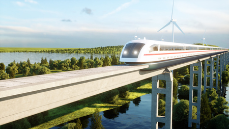 futuristic, modern Maglev train passing on mono rail. Ecological future concept. Aerial nature view. 3d rendering. Stock Photo