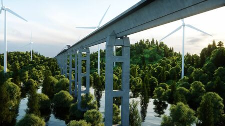 futuristic city: futuristic, modern Maglev train passing on mono rail. Ecological future concept. Aerial nature view. 3d rendering. Stock Photo