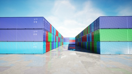 Container depot, wharehouse, seaport. Aeril view. Cargo containers. Logistic and business concept. 3d rendering.
