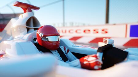 f1: Racer of formula 1 in a racing car. Race and motivation concept. Wonderfull sunset. 3d rendering.