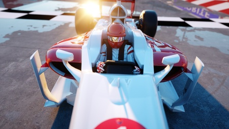 wonderfull: Racer of formula 1 in a racing car. Race and motivation concept. Wonderfull sunset. 3d rendering.