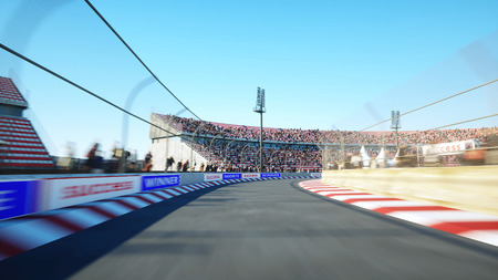 Flight on the race track. Very fast driving. 3d rendering.