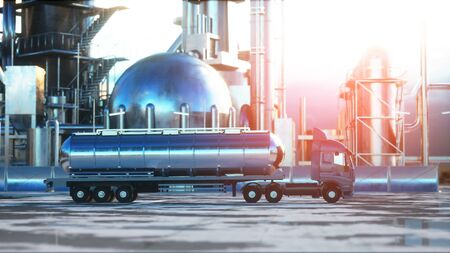 petrol truck near oil, petrol plant. 3d rendering.