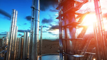 iron: Refinery. Oil, petrolium plant. Metal Pipe. 3d rendering.