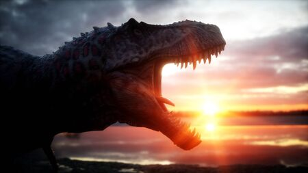 Dinosaur. Prehistoric period, rocky landscape. Wonderfull sunrise. 3d rendering. Stock Photo