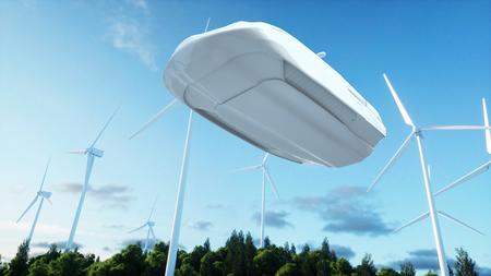 都市上空を飛行する未来の車