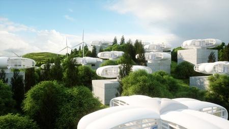 Futurystyczne miasto, wieś Zdjęcie Seryjne