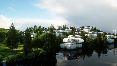 Futuristische stad, dorp. Het concept van de toekomst. Luchtfoto. 3D-rendering.