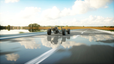rendering: Car chassis with engine on highway. Very fast driving. Auto concept. 3d rendering.